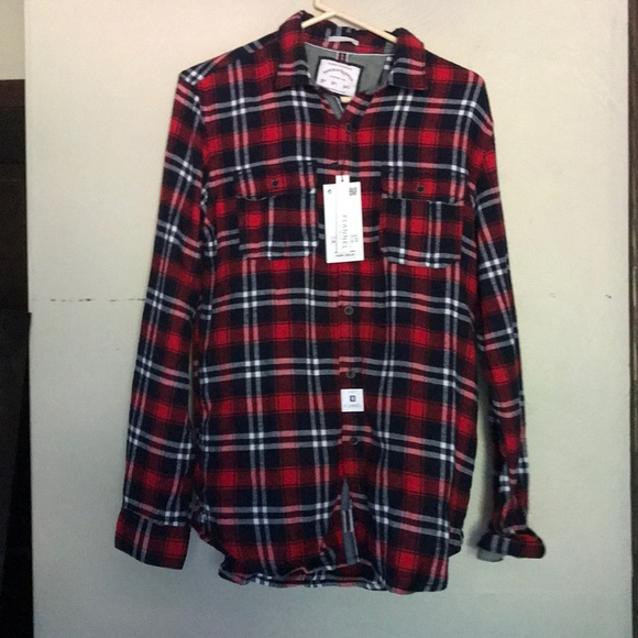 Denim And Flower Tops Mens Flannel Shirt Red And Blue Poshmark